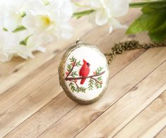 Excited to share the latest addition to my #etsy shop: Cardinal locket necklace, Polymer clay hand sculpture and brass locket, Gift for mom, Christmas gift for mother, Bird necklace for women