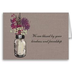 Mason Jar ~ NOTE CARDS Personalized Custom Thank You Stationery Great Gifts