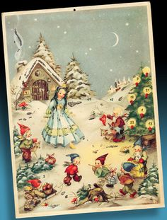 SCHÖNER ALTER ADVENTSKALENDER 50er SCHNEEWITTCHEN U.S. ZONE GERMANY > Steiß 11 5 Painted Christmas Ornaments, Old Christmas, Merry Little Christmas, Father Christmas, Christmas Images, Christmas Cards, Xmas, Advent Calander, Disney Collector