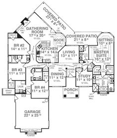 House Plan 53532 Level One Perfect layout - make bedrooms 3/4 a bit larger as well as the dining and study - and maybe an arch from living to nook and it would be great!!!