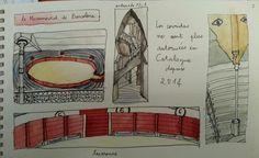 Randocroquis - barcelona - 22 avril - les arènes de la monumental - (la poêle à crêpes à gauche,  c est censé être une vue d ensemble...le 1er dessin n'est jamais terrible et le dernier coup de crayon de la journée casse généralement tout :-( !!! )  MAIS belle variation de rouge +/- intense dans le croquis du bas, et le croquis des escaliers renvoie bien les méandres - dessiné en 3 min pd la fermeture... :-)