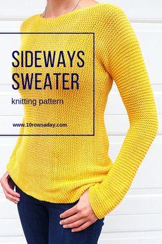 Sideways Sweater Knitting Pattern – Knitting For Beginners Easy Knitting Projects, Knitting Blogs, Easy Knitting Patterns, Vogue Knitting, Knitting For Beginners, Knit Sweater Patterns, Knitting Ideas, Crochet Pattern Free, Knit Basket