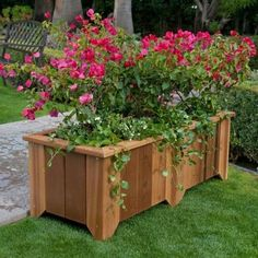 Wood Country Rectangle Cedar Wood Pocatello Planter – Garden Planters at Simply … - Modern Large Planters, Wooden Planters, Outdoor Planters, Trough Planters, Cedar Planter Box, Planter Boxes, Planter Garden, Diy Garden, Lawn And Garden