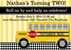 Vintage School Bus Printable Invitation By Oh My Gluestick School Bus Art, School Bus Driver, School Frame, Twin Birthday, 3rd Birthday Parties, Birthday Ideas, Printable Invitations, Invites, Printable Party