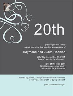 Tiffany and Gray 20th Wedding Anniversary Invitations - Wedding party invitations (*Amazon Partner-Link)
