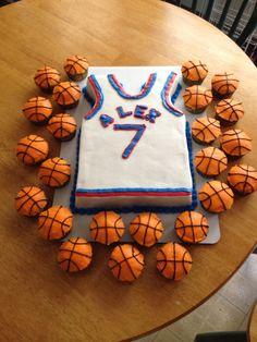 Basketball Jersey Cake  - I'd do it way cuter .. But my lil am lives bball!