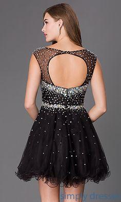 Dresses, Formal, Prom Dresses, Evening Wear: Short Cap Sleeve Open Back Dress