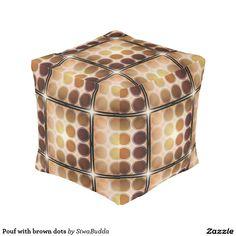 Pouf with brown dots cube pouf