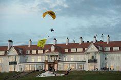 Man Arrested in Scotland After Paraglider Unfurls Anti-Trump Banner