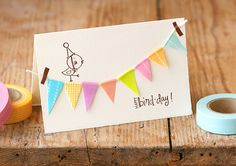 """happy """"bird day"""" car accessories, wrap gifts, bird cards, name cards, birthday invitations, diy birthday cards, washi tape, parti, masking tape"""
