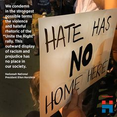 At Hadassah we stand against hate. Read our Nat'l President Ellen Hershkin's statement & like this post. Charlottesville, Good People, Rally, Presidents, Hate, Reading, Words, Awesome, Reading Books