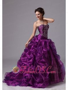 Embroider and Pick-ups Sweep Train For Eggplant Purple Military Ball Gowns For Custom Made In Griffin Georgia  http://www.fashionos.com