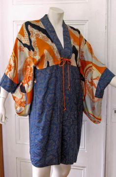 1920s Art Deco Japanese Katazome Stenciled Silk Reversible Kimono. Previously sold from Antique Graces.
