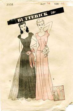 1940s Vintage Dress Pattern Butterick 3028 by FloradoraPresents, $75.00