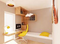 Wandfarbe Creme, Holz Schreibtisch und Regalsystem und gelbe Akzente