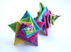 Star Earrings Origami Earrings Dangle Earrings by MAGcraftsy, $18.99