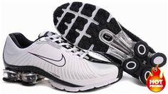 http://www.asneakers4u.com/ Mens Nike Shox R4 White Black Cushion Net I