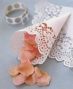 Do a flower petal toss instead of a rice toss - make cones from doilies and use TULIP petals, lol Doily Wedding, Wedding Confetti, Wedding Paper, Wedding Ceremony, Our Wedding, Trendy Wedding, Paper Doilies Wedding, Wedding White, Rose Petals Wedding