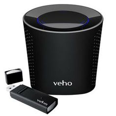 """Veho VSS-002W Mimi Qube 2.4 GHz WiFi Speaker System. [$42.95] """"This portable Speaker system allows you to quickly and easily stream music around your home and garden using WiFi technology. Using the supplied plug and play USB transmitting dongle you can transmit music or sounds from your PC or Mac from between 30 - 50 m (dependent on environment)."""""""