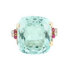 Retro Rose Gold, Aquamarine, Ruby and Diamond Ring  One cushion-shaped aquamarine ap. 30.00 cts., c. 1940.