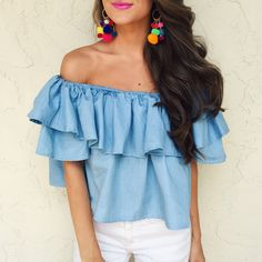 off shoulder top and pom pom earrings - cmcoving instagram