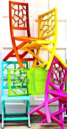 rainbow bright color items pinterest | Rainbow chair color