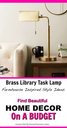 Pretty farmhouse-style brass lamp for my apartment.  Such cute home decor ideas and tips!   #homedecor #homedecorideas #home #interior #ad #budget #love #rustic #farmhouse #livingroom #bedroom #library #apartment #easy #ideas #modern #boho #furniture