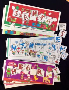 Winter Vocabulary Game! 3 printable speech therapy games-A fresh look each month. Spell Hearts, Winter or Santa to win the game. Includes themed letter mats, vocabulary lists and language development questions. Open-ended fun for any target. From Speech Sprouts on TPT