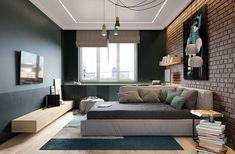 Elegant Scandinavian Style Home With Green Decor Futuristisches Design, Interior Design, Design Ideas, Modern Bedroom, Bedroom Decor, Bedroom Boys, Scandinavian Style Home, Living Place, Living Room Green