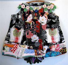 Asian Geisha Wearable Collage FOLK Art Lots of Vintage Fabrics my bonny in oregon