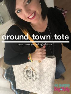 Thirty-One Gifts Around Town Tote Dotted Geo Pebble #oneorganizedbaglady #thirtyonegifts #aroundtowntote