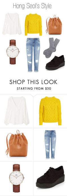 Hong Seol's Outfit by ozgenurbozkurt on Polyvore featuring MANGO, Miss Selfridge, Barbour, New Look, Mansur Gavriel, Daniel Wellington, outfit, cheese, university and Hong