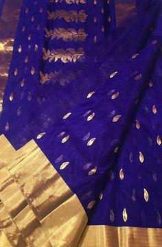 Blue Handloom Chanderi Katan Silk Saree