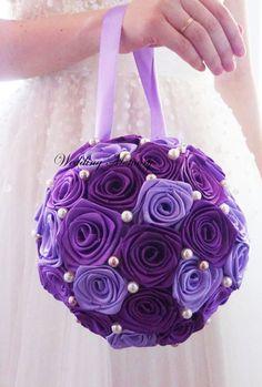 "6"" Purple POMANDERS, Brooch bouquet Wedding Pomanders pearl, satin ribbon Kissing balls Flower Wedding Decor decorations bridesmaids bouquet"