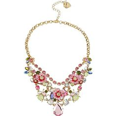 Betsey Johnson Spring Glam Pink Flower Necklace ($145) ❤ liked on Polyvore featuring jewelry, necklaces, accessories, collares, jewels, multi, new arrivals, flower necklace, chain collar necklace and flower chain necklace