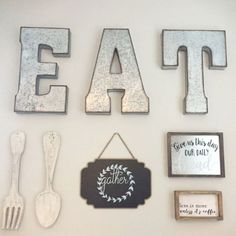 Kitchen or dining room Gallery Wall Idea - would be cute in a breakfast nook too - love the farmhouse style