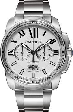Calibre de Cartier Chronograph watch Large model, steel
