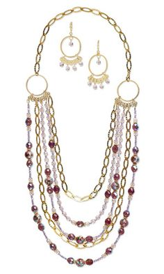 Multi-Strand Necklace and Earring Set with Czech Fire-Polished Glass Beads, Cloisonné Beads and Gold-Plated Chain