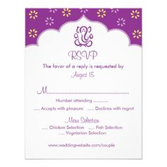 Purple and Gold RSVP Ganesh Indian Hindu Announcement