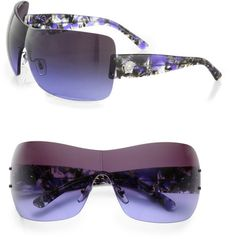 VERSACE Rimless Wrap Shield Sunglasses - Lyst