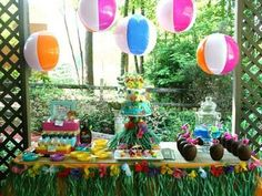 pool party decor with beach balls