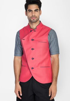 Coral Linen Double Breasted Nehru Jacket at $125.40 (24% OFF)