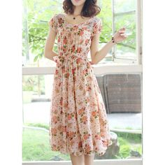 Full Floral Print Self-Tie Bohemian Style Scoop Neck Short Sleeve Women's Dress from Rose Wholesale