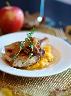 Pork Chops with Roasted Butternut Squash Pureé and Caramelized Apple Onion Compote