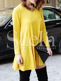 Yellow Long Sleeve Casual Dress 17.99