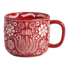 cool mugs Prettily patterned with our exclusive Scandinavian-inspired abstract floral design both inside and out, these merry red and white mugs have lots of texture. Their generous size mak Unique Coffee Mugs, Cool Mugs, Funny Coffee Mugs, Large Coffee Mugs, Mugs Set, Tea Mugs, Cappuccino Mugs, Stoneware Mugs, Christmas Mugs