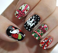 Christmas Sweater Nail Art; This is cute... but what's up with the nail that has a humping deer threesome?!