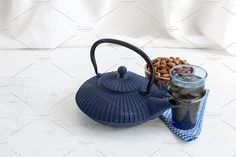 Blue Teapot on a White cloth by huertas19 on creativemarket, Food, Styled Stock Photos