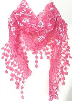 Pink floral vintage lace style triangle scarf with a little sprinkle of glitter and a tassel trim The scarf measures approx 65 inch 162 cm in length Sprinkle Of Glitter, Triangle Scarf, Lace Scarf, Shawls And Wraps, Vintage Lace, Scarf Styles, Pink White, Tassels, Vintage Fashion