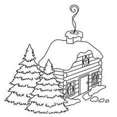 Christmas Log House Rubber Stamp